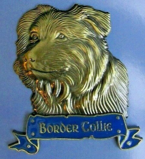 BORDER COLLIE FRIDGE MAGNET HEAVY DUTY METAL 3D ANTIQUE STYLE DOG MAGNET